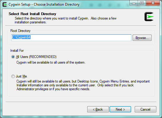 Installing and Updating Cygwin - Standalone MESH - Wiki
