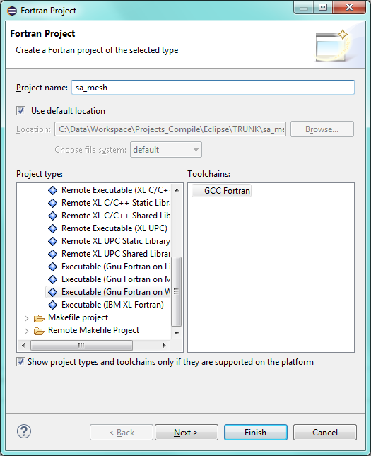 Creating a Fortran project in Eclipse - Standalone MESH - Wiki